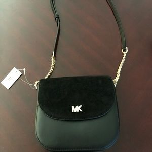 Michael Kors New Black Half Dome Leather Crossbody